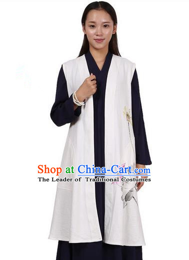 Top Chinese Traditional Costume Tang Suit Linen Vest, Pulian Zen Clothing Republic of China Cheongsam Upper Outer Garment Green White Cappa for Women