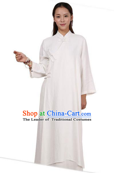 Top Chinese Traditional Costume Tang Suit Linen Qipao Pattern White Dress, Pulian Clothing Republic of China Cheongsam Upper Outer Garment Dress for Women