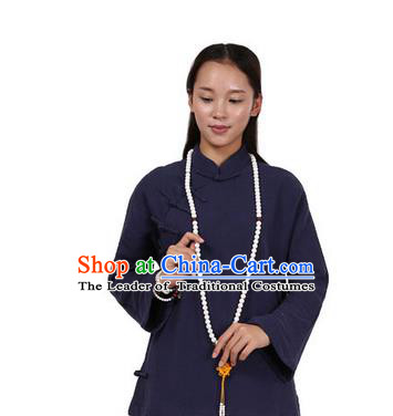 Top Chinese Traditional Costume Tang Suit Linen Upper Outer Garment Navy Blouse, Pulian Zen Clothing Republic of China Cheongsam Shirts for Women