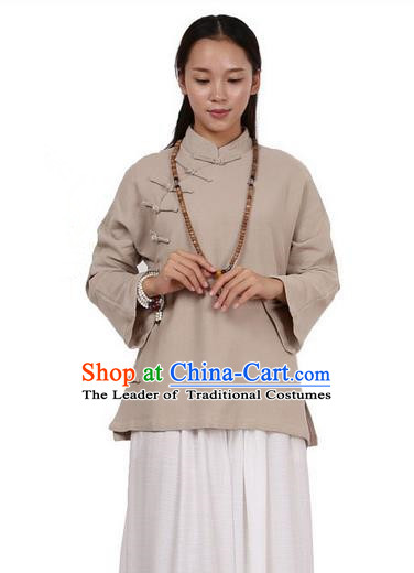 Top Chinese Traditional Costume Tang Suit Linen Upper Outer Garment Khaki Blouse, Pulian Zen Clothing Republic of China Cheongsam Shirts for Women