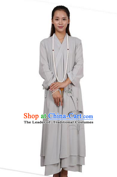 Top Chinese Traditional Costume Tang Suit Linen Upper Outer Garment Qipao Dress, Pulian Zen Clothing Republic of China Cheongsam Painting Lotus Grey Dress for Women