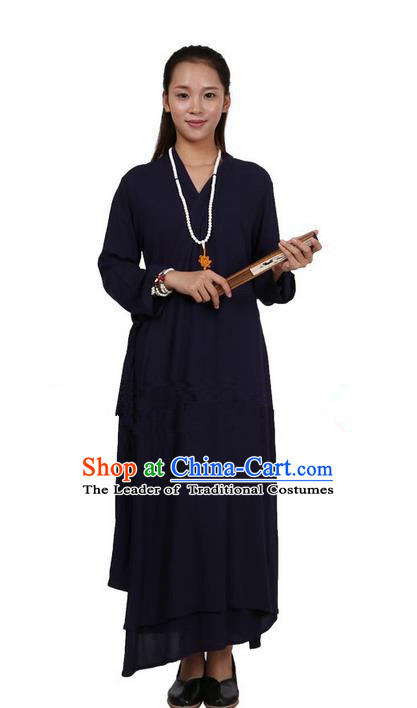 Top Chinese Traditional Costume Tang Suit Linen Upper Outer Garment Qipao Dress, Pulian Zen Clothing Republic of China Cheongsam Navy Dress for Women