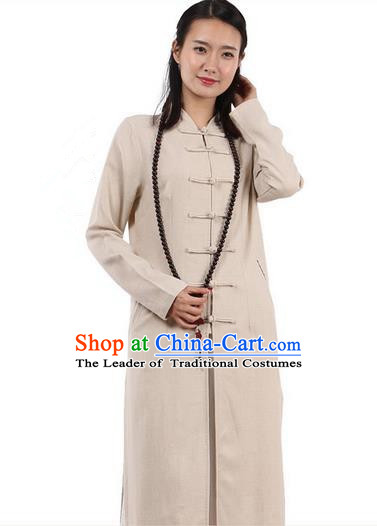 Top Chinese Traditional Costume Tang Suit Plated Buttons Linen Outer Garment Coats, Pulian Zen Clothing Republic of China Cheongsam Beige Dust Coat for Women