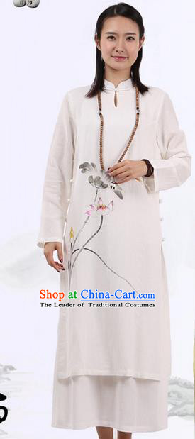 Top Chinese Traditional Costume Tang Suit Plated Buttons Ramie Outer Garment Dress, Pulian Zen Clothing Republic of China Cheongsam Beige Painting Lotus Dress for Women