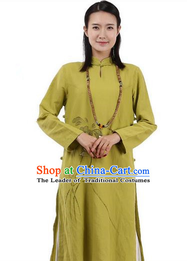 Top Chinese Traditional Costume Tang Suit Plated Buttons Ramie Outer Garment Dress, Pulian Zen Clothing Republic of China Cheongsam Green Painting Lotus Dress for Women