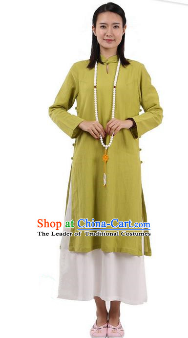 Top Chinese Traditional Costume Tang Suit Plated Buttons Ramie Outer Garment Dress, Pulian Zen Clothing Republic of China Cheongsam Green Dress for Women