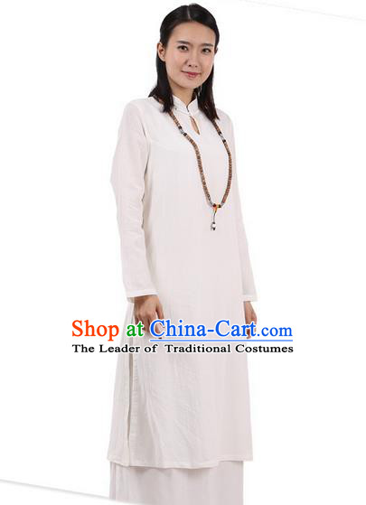 Top Chinese Traditional Costume Tang Suit Plated Buttons Ramie Outer Garment Dress, Pulian Zen Clothing Republic of China Cheongsam Beige Dress for Women