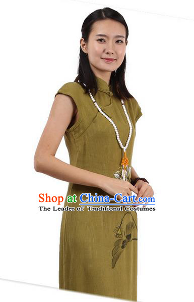 Top Chinese Traditional Costume Tang Suit Stand Collar Outer Garment Qipao Dress, Pulian Zen Clothing Republic of China Short Cheongsam Painting Lotus Green Dress for Women