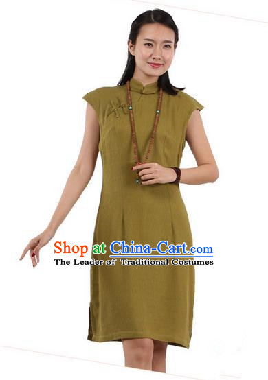 Top Chinese Traditional Costume Tang Suit Stand Collar Outer Garment Qipao Dress, Pulian Zen Clothing Republic of China Short Cheongsam Green Dress for Women