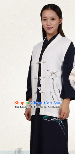 Top Chinese Traditional Costume Tang Suit Plated Buttons Upper Outer Garment Vest, Pulian Zen Clothing Republic of China Waistcoat Painting Lotus White Cappa for Women