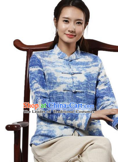 Top Chinese Traditional Costume Tang Suit Ramie Blue Blouse, Pulian Zen Clothing China Cheongsam Upper Outer Garment Plated Buttons Shirts for Women