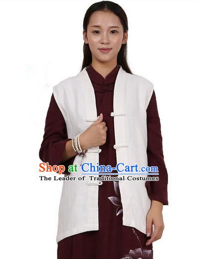 Top Chinese Traditional Costume Tang Suit Plated Buttons Upper Outer Garment Vest, Pulian Zen Clothing Republic of China Waistcoat White Cappa for Women