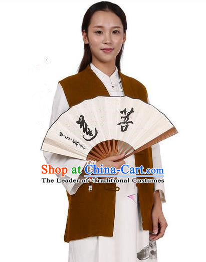 Top Chinese Traditional Costume Tang Suit Plated Buttons Upper Outer Garment Vest, Pulian Zen Clothing Republic of China Waistcoat Coffee Cappa for Women