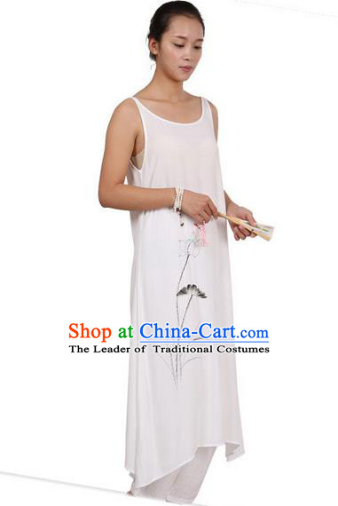 Top Chinese Traditional Costume Tang Suit Linen Painting Lotus Sundress, Pulian Zen Clothing Republic of China Pinafore Dress White Dress for Women