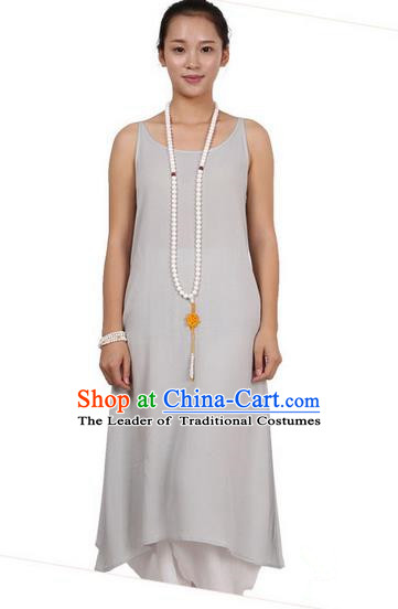 Top Chinese Traditional Costume Tang Suit Linen Sundress, Pulian Zen Clothing Republic of China Pinafore Dress Grey Dress for Women