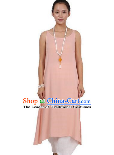 Top Chinese Traditional Costume Tang Suit Linen Sundress, Pulian Zen Clothing Republic of China Pinafore Dress Pink Dress for Women