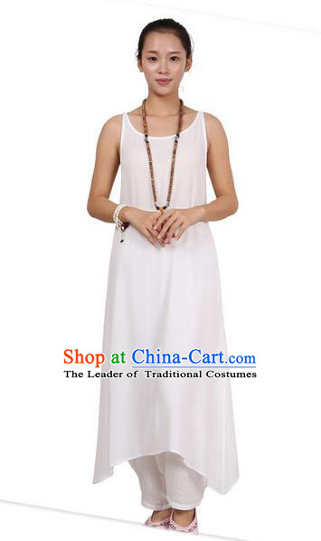 Top Chinese Traditional Costume Tang Suit Linen Sundress, Pulian Zen Clothing Republic of China Pinafore Dress White Dress for Women