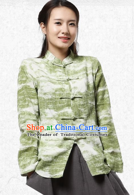 Top Chinese Traditional Costume Tang Suit Ramie Green Blouse, Pulian Zen Clothing China Cheongsam Upper Outer Garment Plated Buttons Shirts for Women