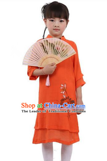 Top Chinese Traditional Costume Tang Suit Linen Qipao Children Dress, Pulian Zen Clothing Republic of China Cheongsam Orange Painting Lotus Dress for Kids