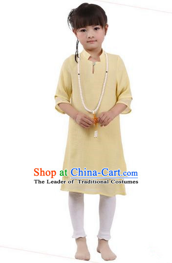 Top Chinese Traditional Costume Tang Suit Linen Qipao Children Dress, Pulian Zen Clothing Republic of China Cheongsam Yellow Dress for Kids