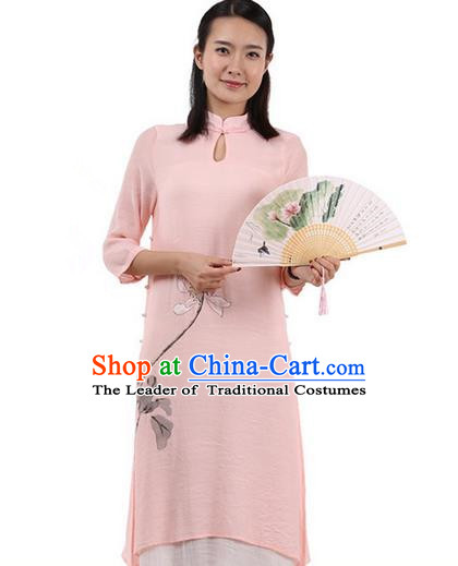 Top Chinese Traditional Costume Tang Suit Linen Double-deck Qipao Dress, Pulian Zen Clothing Republic of China Cheongsam Upper Outer Garment Painting Lotus Pink Dress for Women