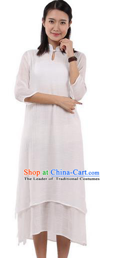 Top Chinese Traditional Costume Tang Suit Linen Double-deck Qipao Dress, Pulian Zen Clothing Republic of China Cheongsam Upper Outer Garment White Dress for Women