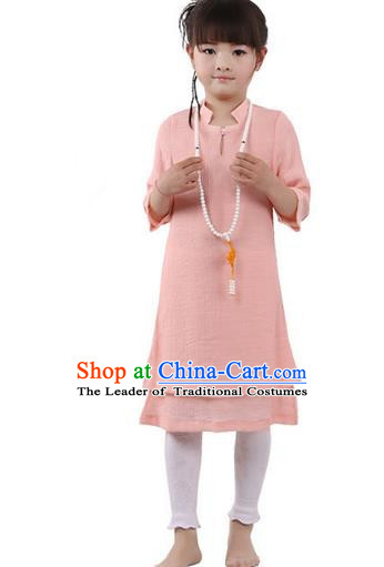 Top Chinese Traditional Costume Tang Suit Linen Qipao Children Dress, Pulian Zen Clothing Republic of China Cheongsam Pink Dress for Kids