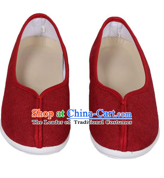 Top Chinese Traditional Linen High-heeled Shoes, Pulian Zen Shoes China Martial Art Red Cloth Shoe for Women
