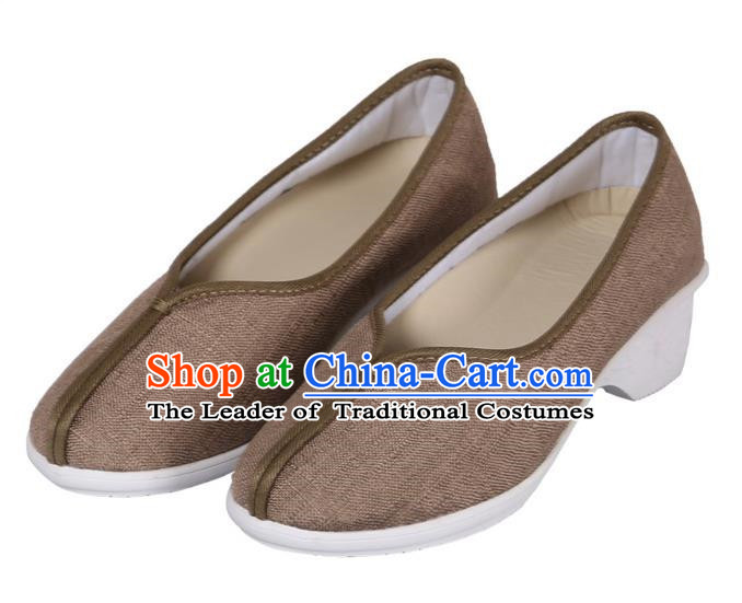 Top Chinese Traditional Linen High-heeled Shoes, Pulian Zen Shoes China Martial Art Brown Cloth Shoe for Women