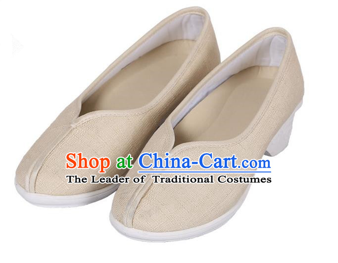 Top Chinese Traditional Linen High-heeled Shoes, Pulian Zen Shoes China Martial Art Beige Cloth Shoe for Women