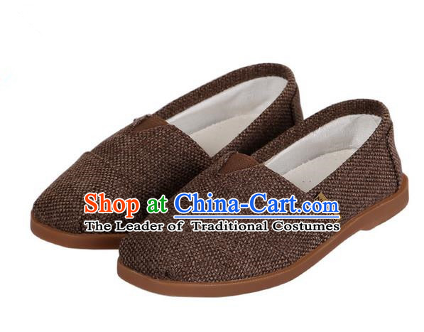 Top Chinese Traditional Linen Kong Fu Shoes, Pulian Zen Shoes China Martial Art Brown Cloth Shoe for Men
