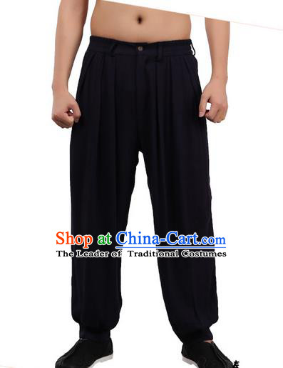 Top Chinese Traditional Linen Kong Fu Loose Pants, Pulian Zen Clothing China Martial Art Plus Fours Bloomers Black Trousers for Men