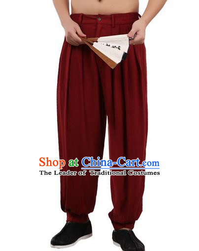 Top Chinese Traditional Linen Kong Fu Loose Pants, Pulian Zen Clothing China Martial Art Plus Fours Bloomers Red Trousers for Men
