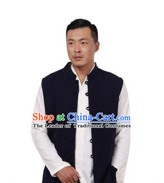 Traditional Chinese Kung Fu Costume Martial Arts Linen Plated Buttons Waistcoat Pulian Meditation Clothing, China Tang Suit Vest Tai Chi Navy Weskit for Men