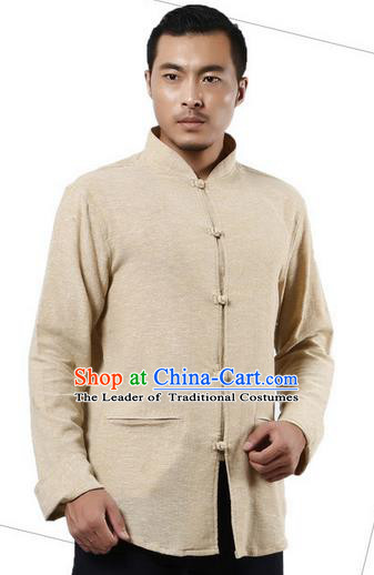 Traditional Chinese Kung Fu Costume Martial Arts Linen Shirts Pulian Meditation Clothing, China Tang Suit Upper Outer Garment Beige Overshirt for Men