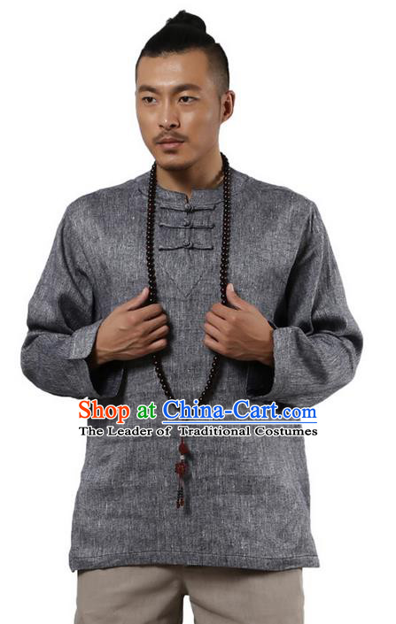 Traditional Chinese Kung Fu Costume Pulian Meditation Clothing Martial Arts Linen Plated Buttons Shirts, China Tang Suit Upper Outer Garment Blue Overshirt for Men