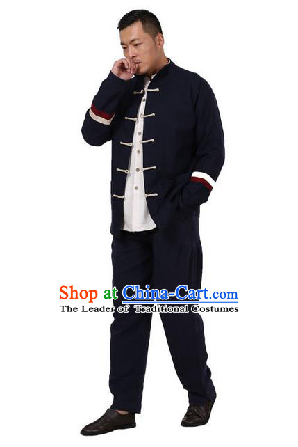 Traditional Chinese Kung Fu Costume Pulian Meditation Clothing Martial Arts Linen Plated Buttons Coats, China Tang Suit Upper Outer Garment Jacket Navy Overcoat for Men