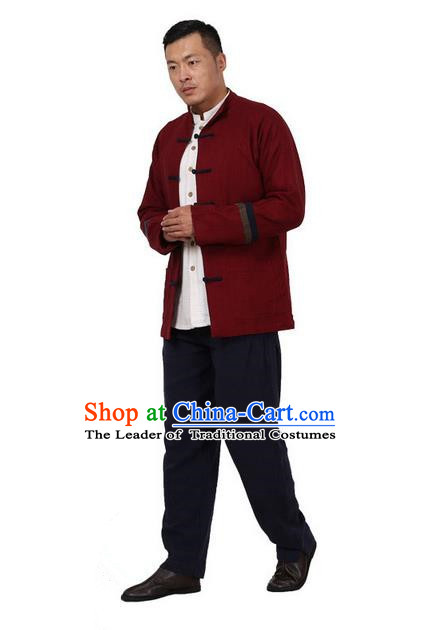 Traditional Chinese Kung Fu Costume Pulian Meditation Clothing Martial Arts Linen Plated Buttons Coats, China Tang Suit Upper Outer Garment Jacket Red Overcoat for Men