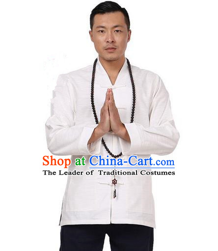 Traditional Chinese Kung Fu Costume Pulian Meditation Clothing Martial Arts Linen Plated Buttons Shirts, China Tang Suit Upper Outer Garment White Overcoat for Men