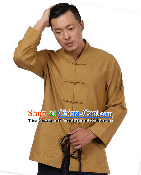 Traditional Chinese Kung Fu Costume Pulian Meditation Clothing Martial Arts Linen Plated Buttons Shirts, China Tang Suit Upper Outer Garment Khaki Overcoat for Men