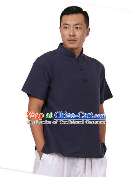 Traditional Chinese Kung Fu Costume Martial Arts Linen Plated Buttons Navy Shirts Pulian Meditation Clothing, China Tang Suit Upper Outer Garment for Men