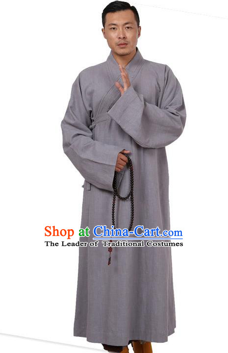 Traditional Chinese Kung Fu Costume Martial Arts Linen Grey Monk Robes Pulian Meditation Clothing, China Tang Suit Shaolin Wushu Frock for Men