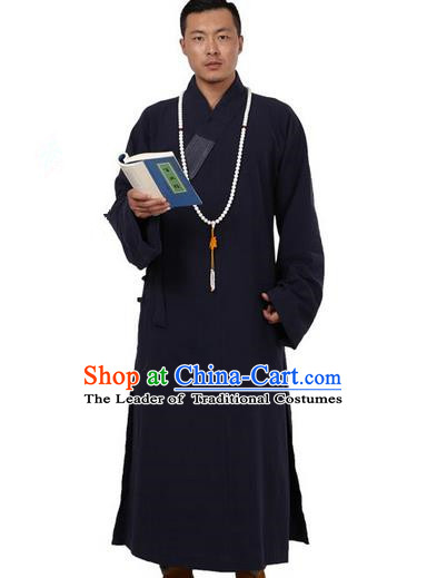 Traditional Chinese Kung Fu Costume Martial Arts Monk Robes Pulian Meditation Clothing, China Tang Suit Shaolin Wushu Navy Frock for Men