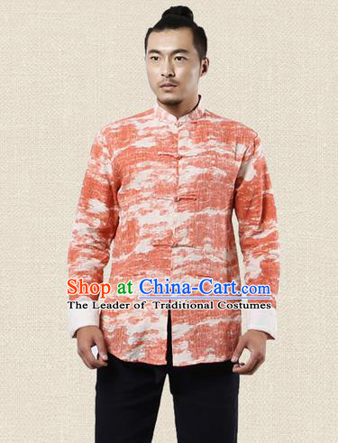 Traditional Chinese Kung Fu Costume Martial Arts Tang Suit Shirts Pulian Meditation Clothing, China Tai Chi Plated Buttons Red Overshirts for Men