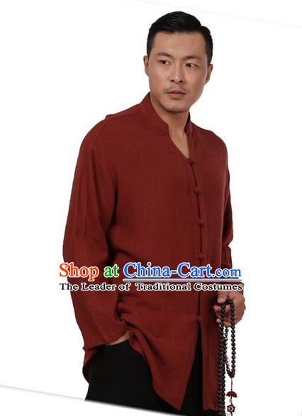 Traditional Chinese Kung Fu Costume Martial Arts Tang Suit Plated Buttons Shirts Pulian Meditation Clothing, China Tai Chi Dark Red Overshirts for Men