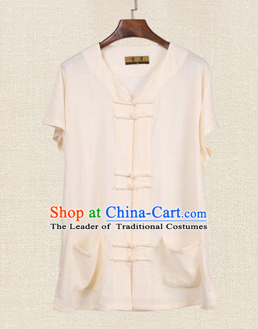 Traditional Chinese Kung Fu Costume Martial Arts Tang Suit Plated Buttons Shirts Pulian Meditation Clothing, China Tai Chi Beige Short Sleeve T-shirts for Men