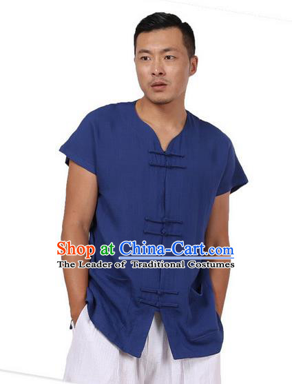 Traditional Chinese Kung Fu Costume Martial Arts Tang Suit Plated Buttons Shirts Pulian Meditation Clothing, China Tai Chi Blue Short Sleeve T-shirts for Men