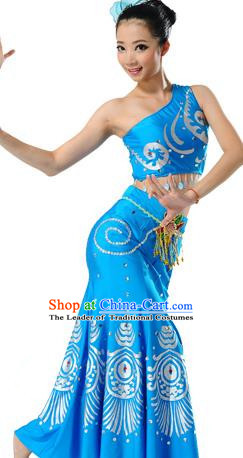 Traditional Chinese Dai Nationality Peacock Dance Costume, Folk Dance Ethnic Blue Dress, Chinese Minority Nationality Dance Clothing for Women