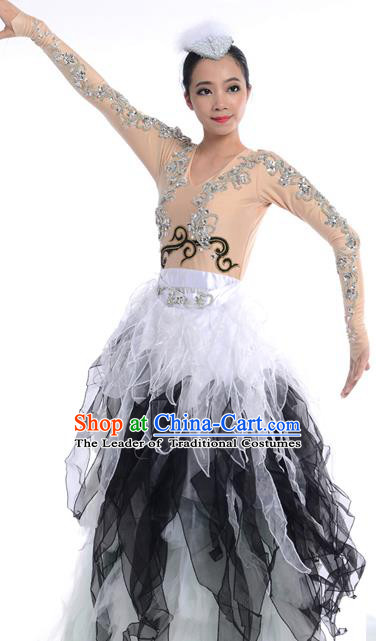 Chinese Classic Stage Performance Chorus Singing Group Dance Costumes, Opening Dance Folk Dance Big Swing Black Dress for Women