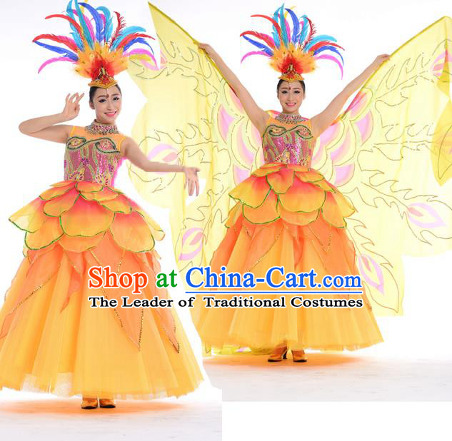 Top Chinese Classic Stage Performance Chorus Singing Group Costumes, Opening Dance Folk Dance Big Swing Dress for Women